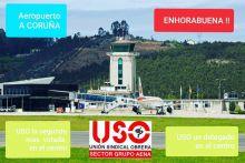 USO Aena consolida sus resultados en las elecciones sindicales del Aeropuerto de Alvedro, en A Coruña