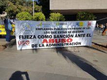 USO apoya a los empleados públicos en FRAUDE de ley en su cuarto día de huelga