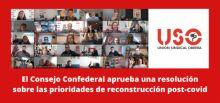 El Consejo de USO aprueba una resolución sobre las prioridades de reconstrucción post-covid